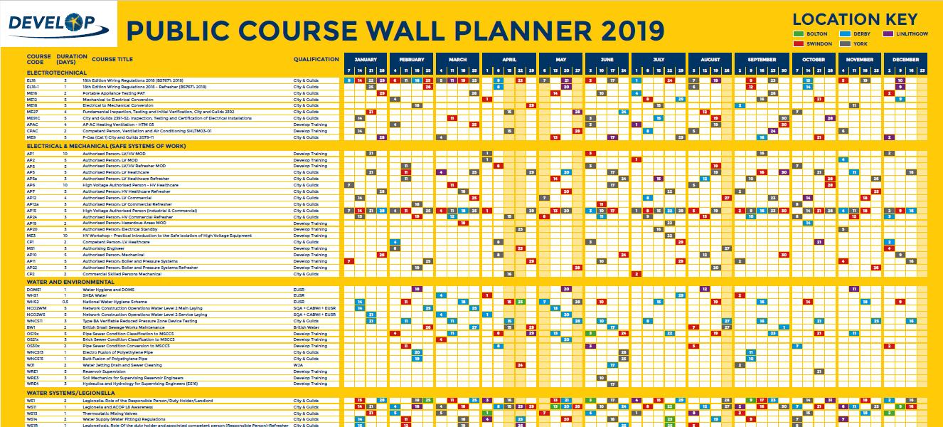 Course calendar 2019